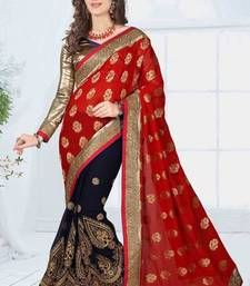 Buy Red embroidered viscose saree with blouse wedding-saree online