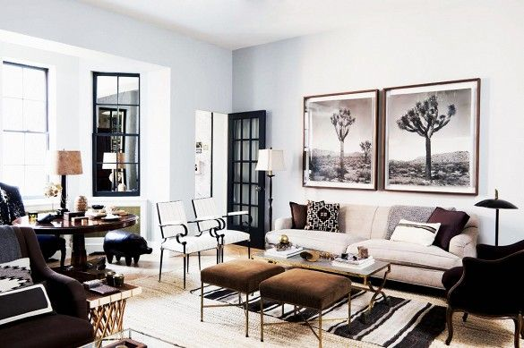 Masculine living room with black and white features