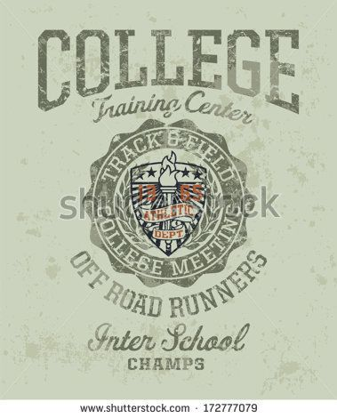 Track & field college meeting - Vintage athletic artwork for boy sportswear in custom colors by ZiaMary, via Shutterstock