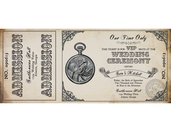 This Steampunk Printable Ticket Wedding Invitation And Rsvp Is Perfect For Any Steamp Ticket Wedding Invitations Steampunk Wedding Invitation Printable Tickets