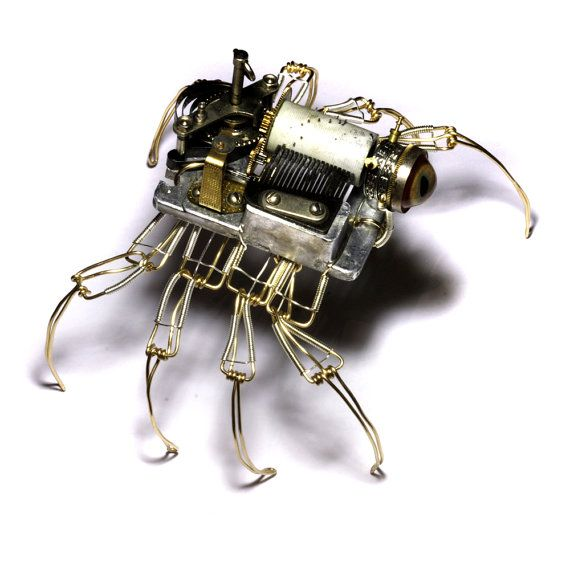 Steampunk Musical Spider Robot Sculpture with di CatherinetteRings