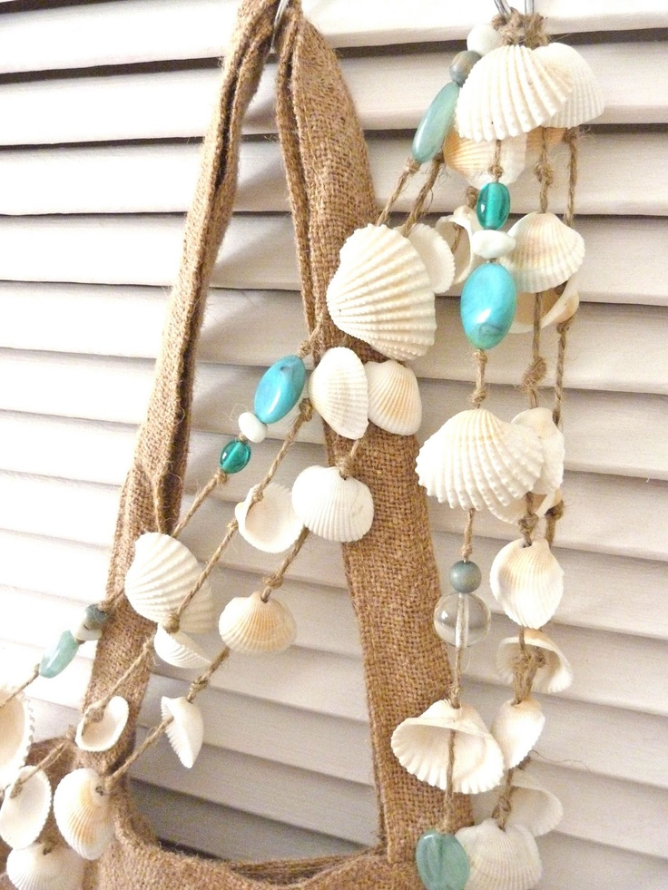 beachcomber: seashell garlands- make with turqoise stone (Erin's stash)...