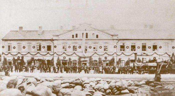 nádraží v Turnově, nejstarší foto pořízené po obsazení města pruským vojskem v r. 1866