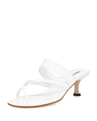 Susa Low-Heel Thong Slide Sandal, White by Manolo Blahnik at Bergdorf Goodman.