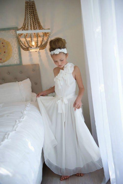 Chic ballerina bun on tween flower girl with headband and for Wedding dresses for tweens