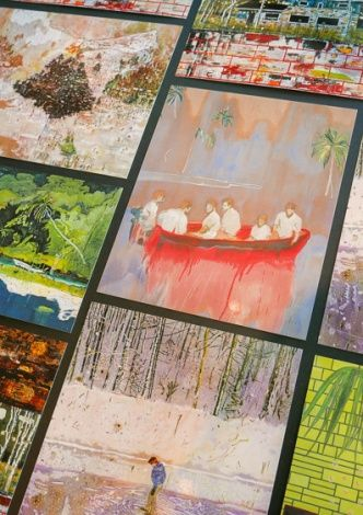 Postcards created in connection to the exhibition PETER DOIG, 17.4.2015 - 23.8.2015, Louisiana Museum of Modern Art. #peterdoig #painting #fluidworld #louisianamuseum #louisianamuseumofmodernart #louisiana