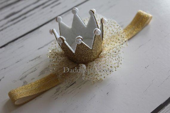 Gold crown headband baby crown 1st birthday by Daddasprincess