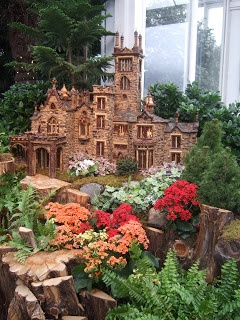 The NY Botanical Garden Train Show - so much fun every Christmas season. Everything in the panorama is made with leaves, twigs, bark, mosses and amazing creativity!