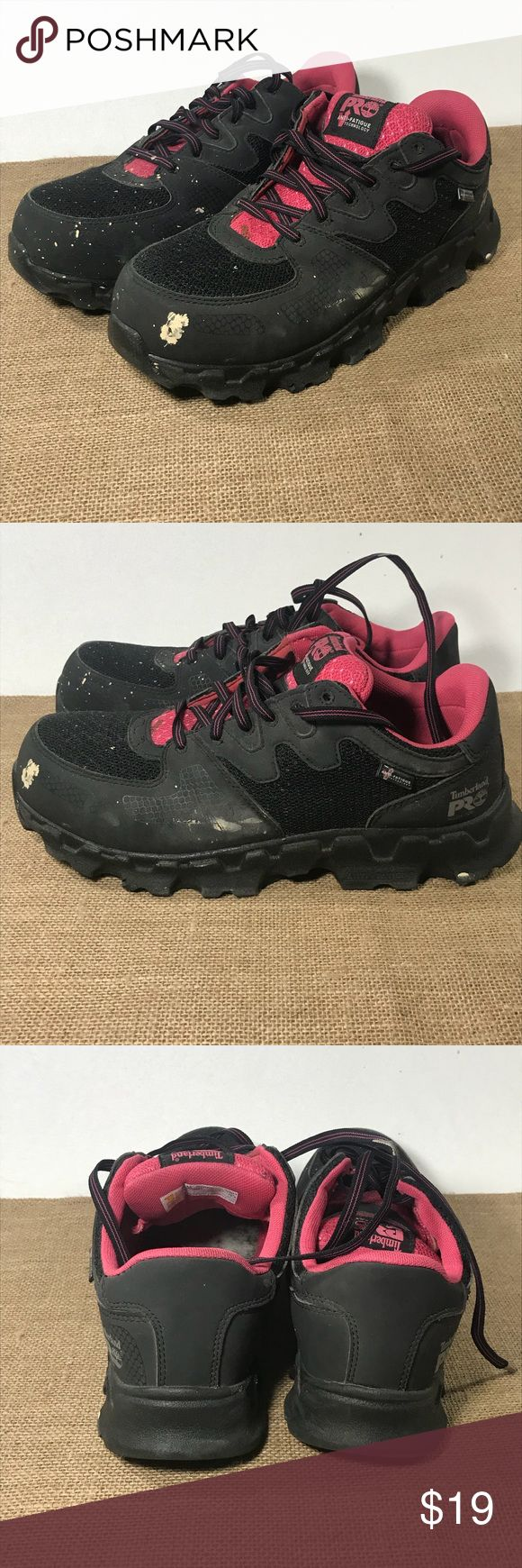 Womens 9.5 Safety Work Shoes Alloy Toe Timberland In great condition besides the paint splatter. Timberland Shoes Sneakers