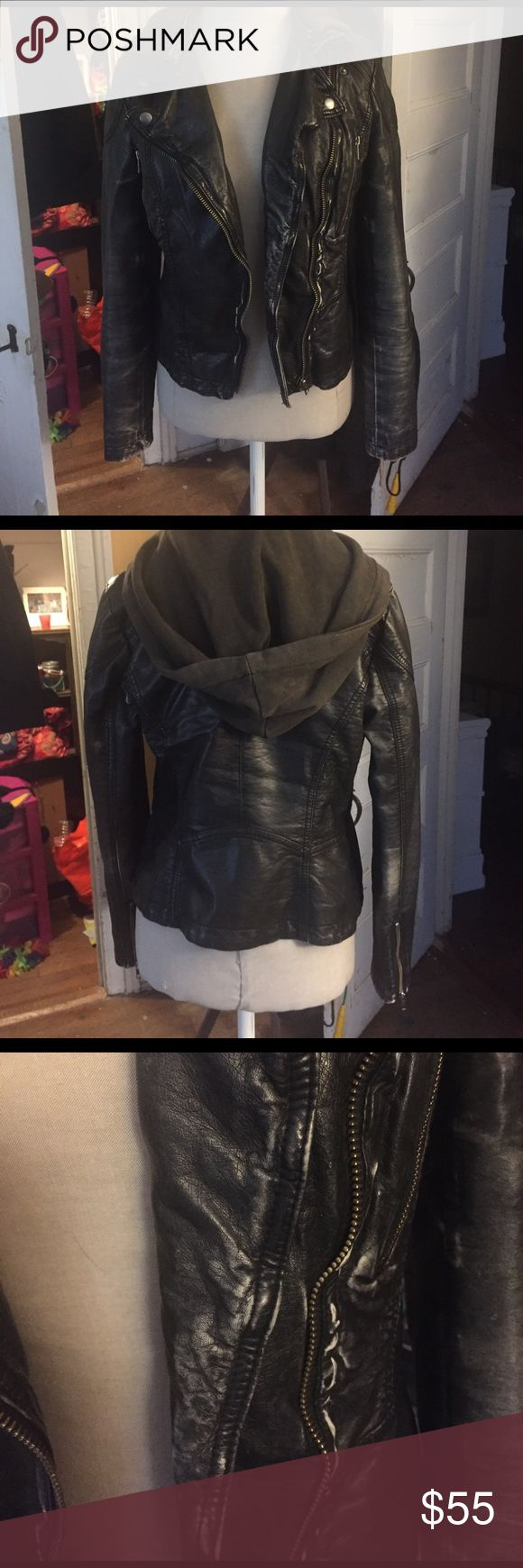 Free People Hooded Leather Jacket I bought this from another posher. The fit is great and it's super flattering! It's just a little too worn for my liking. I'm usually a medium and this fit me perfectly. Hood is removable. Feel free to make an offer! Free People Jackets & Coats