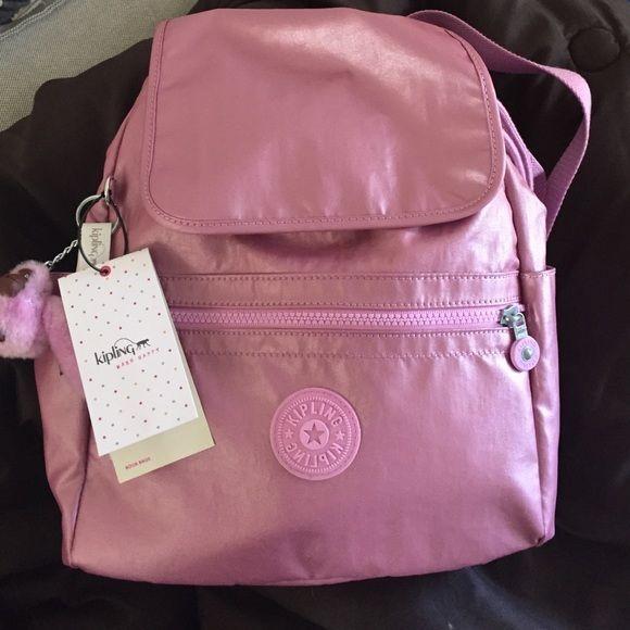 metallic baby pink kipling backpack BNWT!!!  Kipling Bags Backpacks