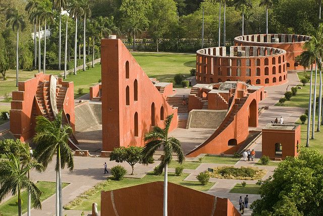 Jantar Mantar in India.. With the help of these structures and sun rays falling on them, time can be calculated..