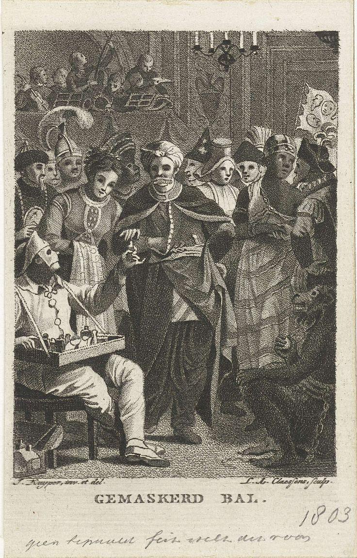 Lambertus Antonius Claessens   Gemaskerd bal, Lambertus Antonius Claessens, 1803   Op een bal zijn mensen verkleed als afstammelingen van diverse volkeren. Op de achtergrond speelt op een podium een klein orkest. Links voor deelt een clown flesjes met reukwater uit.