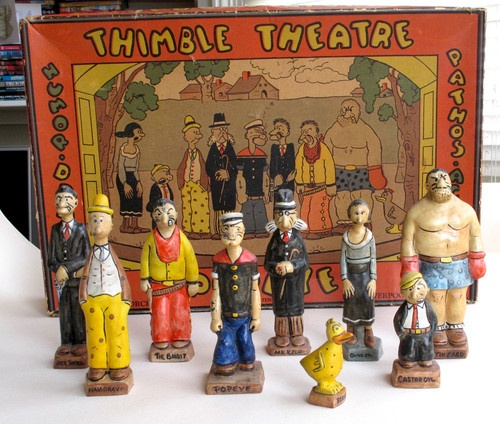 RARE 1930'S VINTAGE OLD POPEYE THIMBLE THEATRE TOY - 9 PORCELAIN CHARACTERS Z