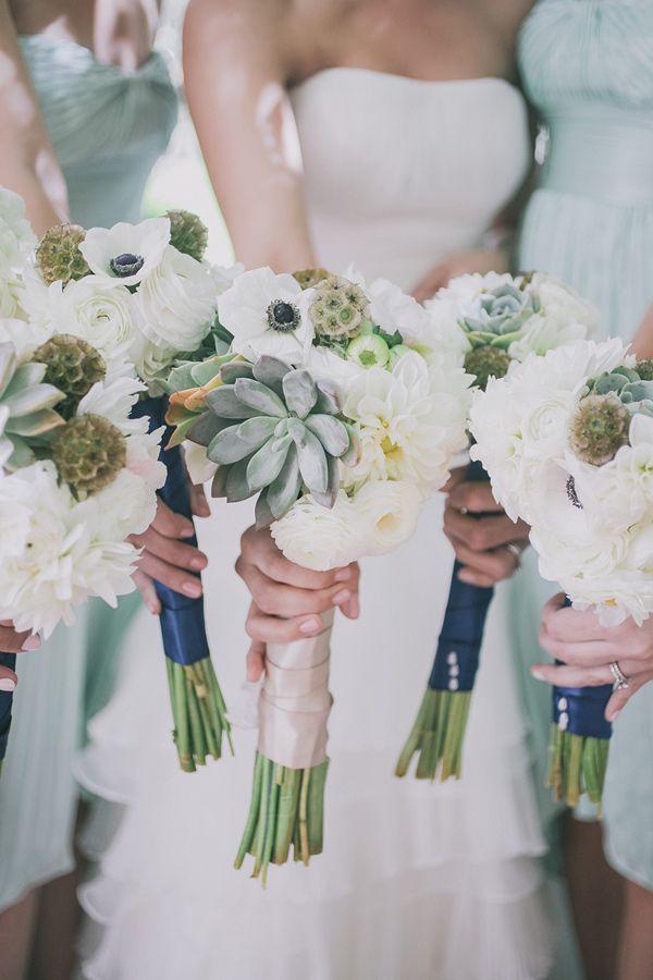 long stem bouquets, photo by Edyta Szyszlo http://ruffledblog.com/allied-arts-guild-wedding #weddingbouquet #flowers