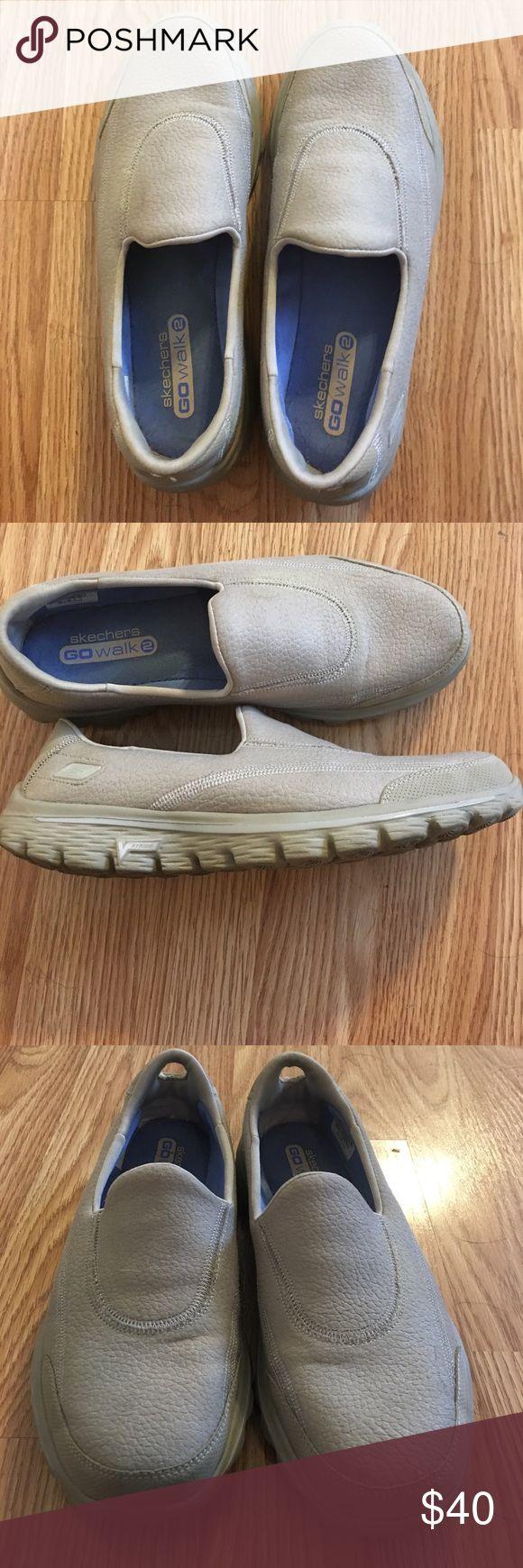 Skechers GOwalk2 slip on shoes size 7.5 Skechers GOwalk2 memory foam slip on tan shoes size 7.5. Worn only a few times, incredibly comfy like new! Skechers Shoes