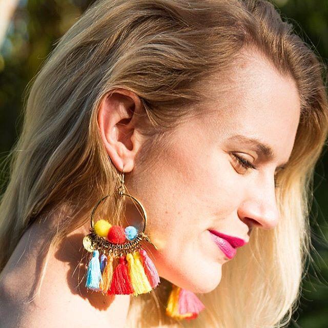 Pom Pom & Tassel Earrings. 💛💚💙💜❤️ #pompom #tassel #tasselearrings #statementearrings #jewelry #gift