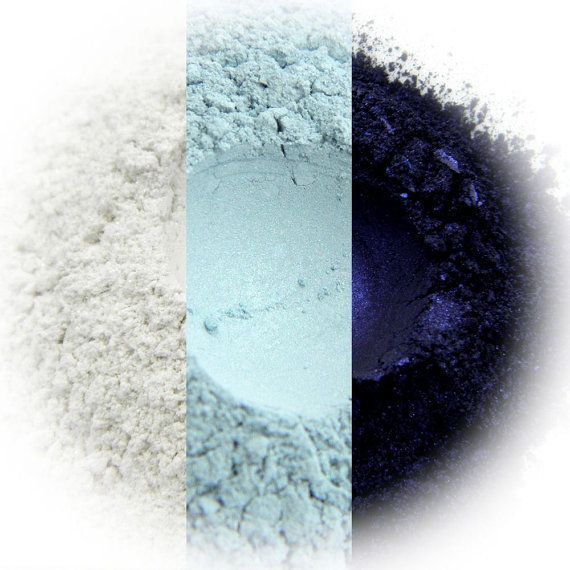Blue Smoke Eyeshadow Trio  Sparkling Snow Ice Blue by Rhasdala these colours are so striking, and my own Rhasdala eye shadows are the softest, smoothest, most lush eyeshadows I've ever used, my eyelids look like a Goddess in the products from this shop.