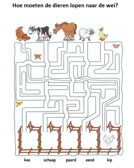 Doolhof: Hoe moeten de dieren naar de wei? [lacasainfantil.com]