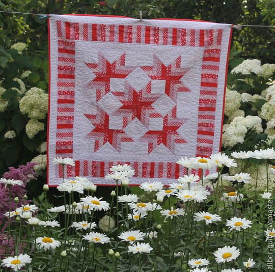 Купить Одеяло лоскутное Лето красное, лето звездное, пэчворк - красно-белый, лоскутное одеяло
