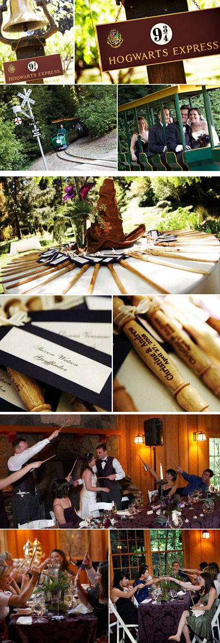 Harry Potter themed wedding. I usually don't post wedding stuff because that's no where close in the near future, but ohmygosh. I would die.