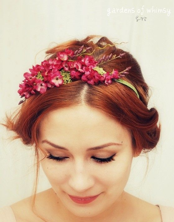 Floral headband pink flower crown hair by gardensofwhimsy on Etsy, $40.00