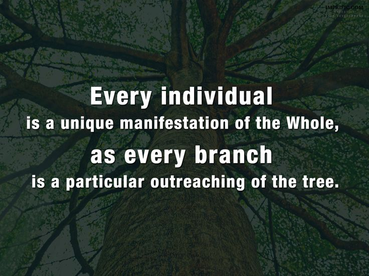 Every individual is a unique manifestation of the While, as every branch is a particular outreaching of the trees. ~ Alan Watts #spirituality #life #quotes #inspiration