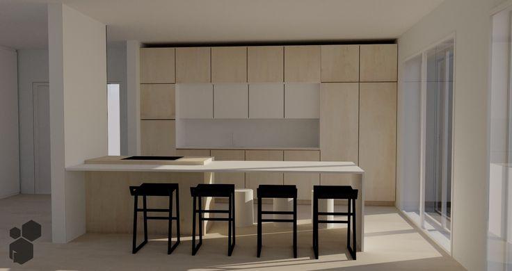 Talo105 | Keittiösuunnitelma | Koivua ja valkoista | Saarekekeittiö ja baaripöytä
