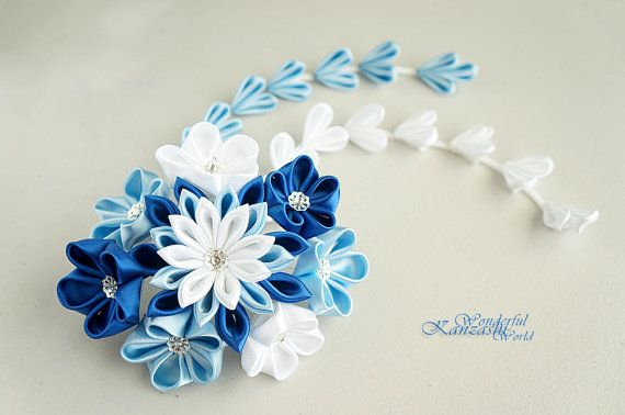 Tsumami Kanzashi Wedding Fabric Flower Hair Comb Blue and White Wedding Accessories