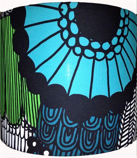 "Marimekko 'Siirtolapuutarha' shade in blue, green, teal, black and white 17x14"""