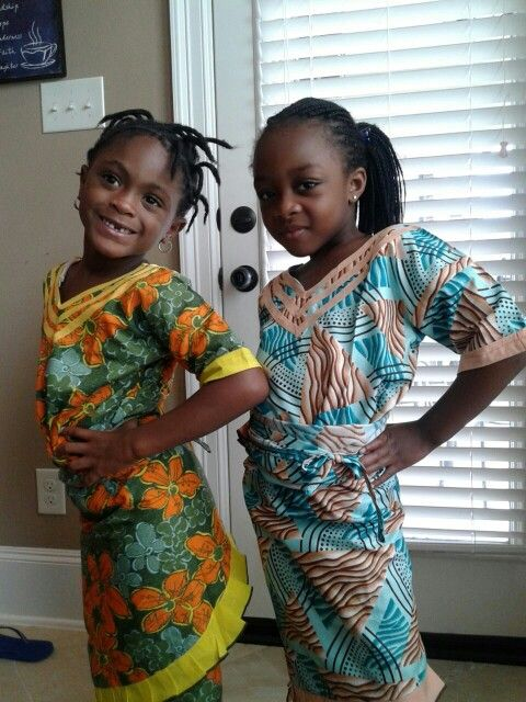 My 5 year old nieces rocking their oleku outfits.  Adorable #naijafashion #africanwear #prettykids #bellanaija #asoebi