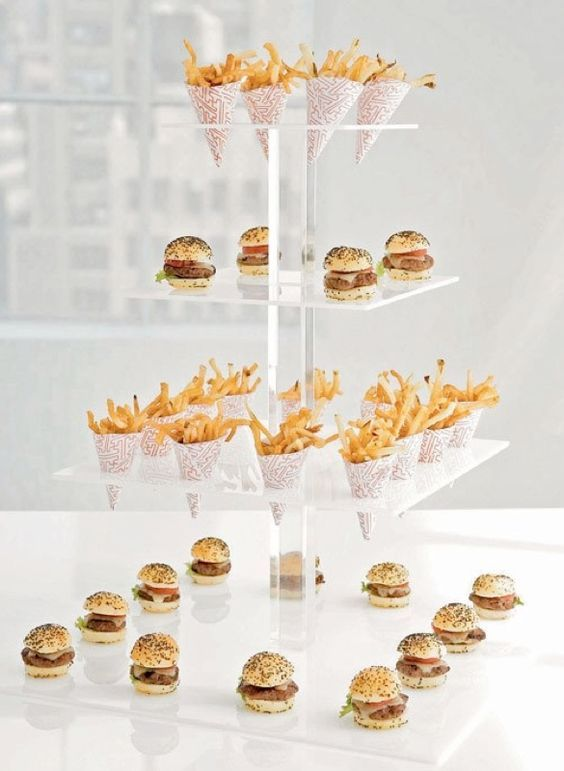 These mini food ideas for weddings, a take on the American classics, perfectly presented to match an industrial wedding decor.