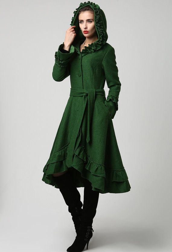 Womens Dark Green Wool Maxi Coat with Hood… okay, this is the most beautiful jacket i've ever… love this color!!!