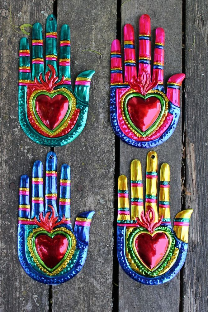 Mexican Tin Milagros   SOLD SEPERATELY   Hands U0026 Flaming Hearts Oaxaca Folk  Art