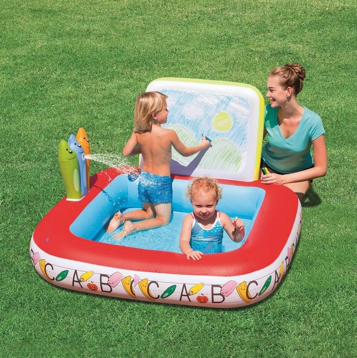 Kids swimming pool inflatable summer toy play learn for Swimming pool drawing