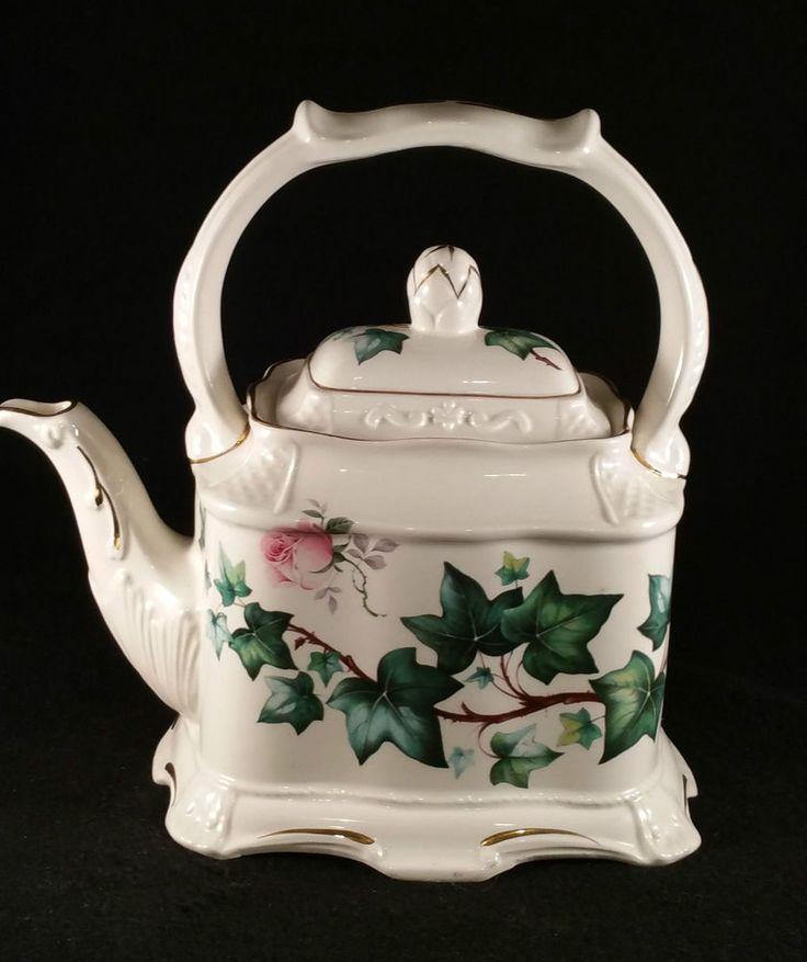 Crown Dorset Staffordshire Bone China England Teapot--English Pink Roses & Ivy #CrownDorset