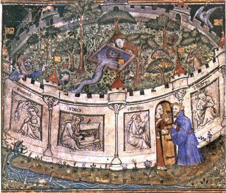 Scuola fiamminga, L'amante all'interno del giardino di diletto, 1400 circa, Londra British Library - Dettaglio