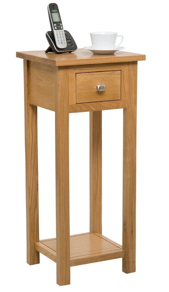Solid Oak Compact Tall Slim Telephone Console Lamp Hallway Plant Bedside Table