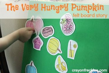 the very hungry pumpkin felt board story  (based on the hungry caterpillar) super cute!! from CrayonFreckles.com