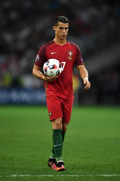 #EURO2016 Cristiano Ronaldo of Portugal prepares for the penalty at the penalty shootout during the UEFA EURO 2016 quarter final match between Poland and...