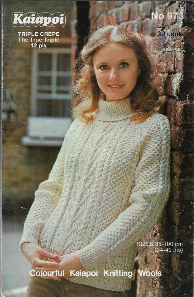 Women Cable Aran Sweater Kaiapoi 973 knitting pattern 12 ply triple yarn
