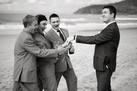 The Groomsmen admiring the ring - hilarious!