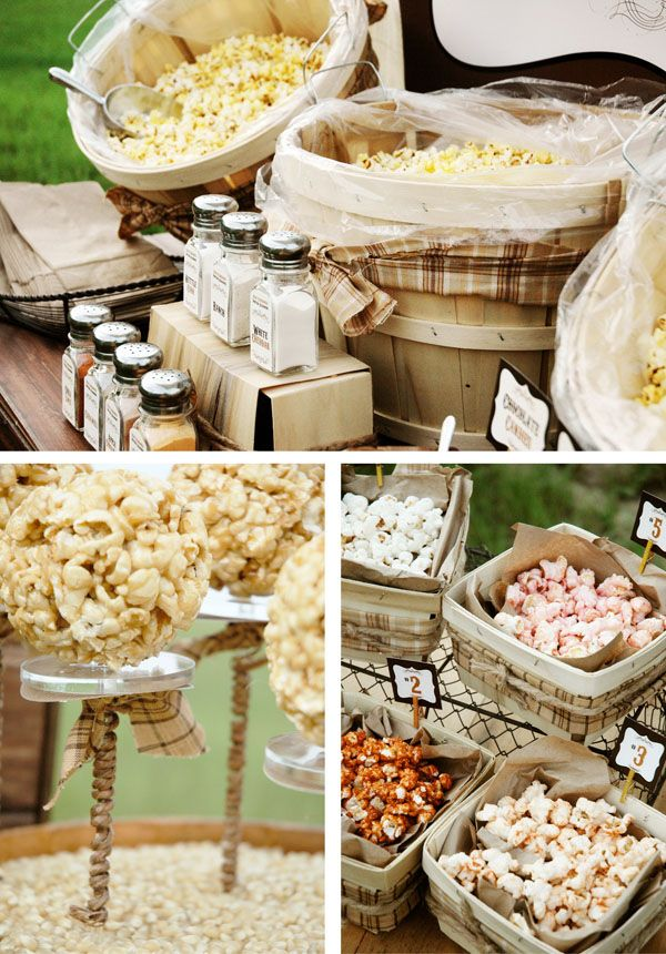 popcorn bar for family reunion with flavorings and add ins...buy pre-popped pop corn from grocery store...