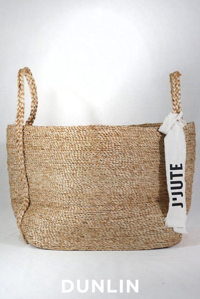 J'Jute Maya Large Wide Jute Basket in Natural