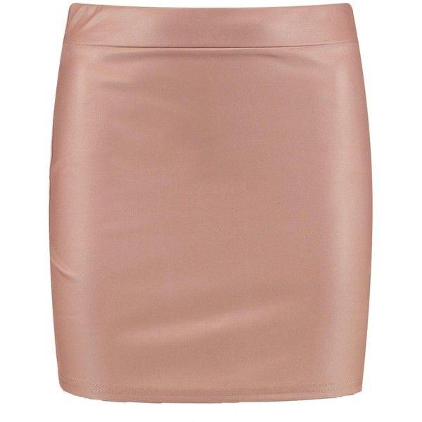 Boohoo Ella Matte Leather Look Jersey Mini Skirt ($11) ❤ liked on Polyvore featuring skirts, mini skirts, beige maxi skirt, midi circle skirt, pleated maxi skirt, jersey maxi skirt and maxi skirt