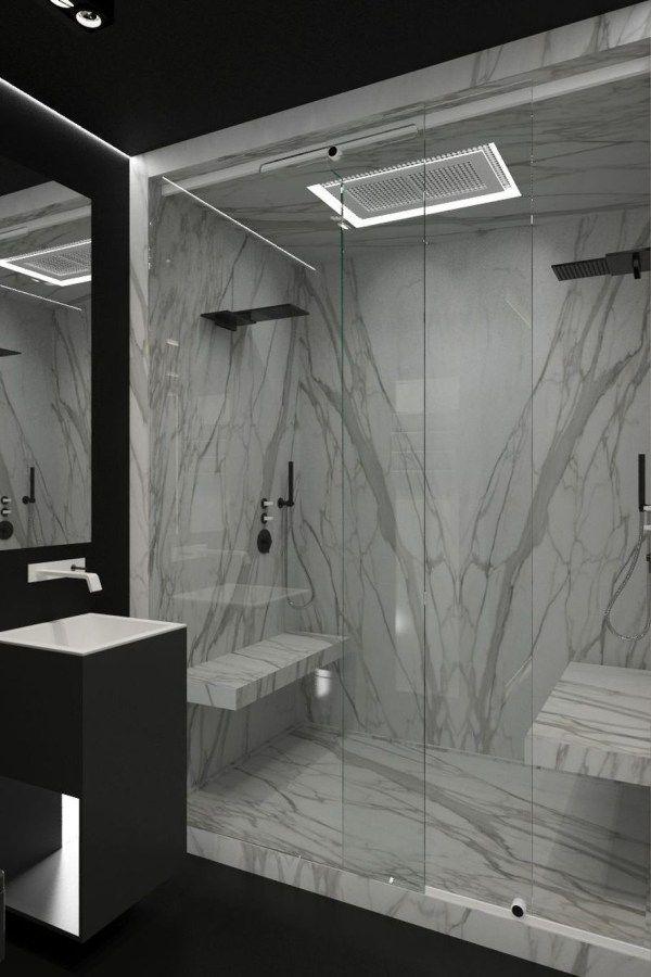Stunning Black Marble Bathroom Design Ideas 02 In 2020 Modern Marble Bathroom Marble Bathroom Designs Black Marble Bathroom