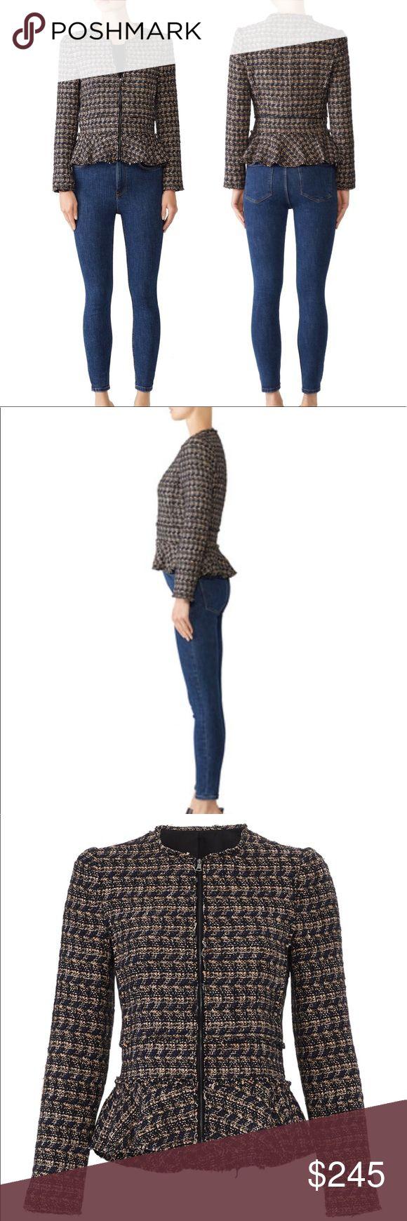Rebecca Taylor Ruffled Multi Tweed Jacket Multi color tweed jacket. Zips in fron…