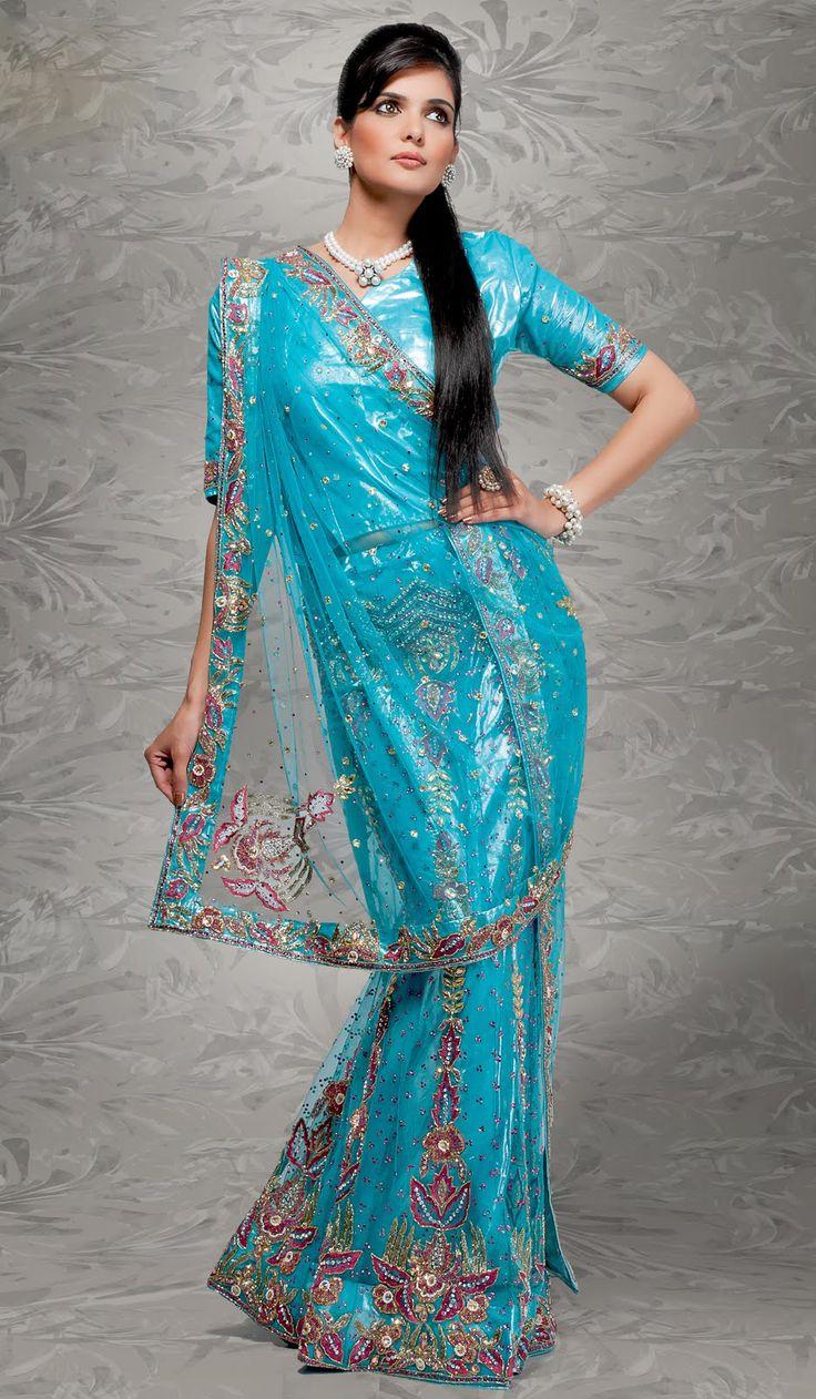 Sky Blue Net Indian Wedding Lehenga Choli with Embroidery