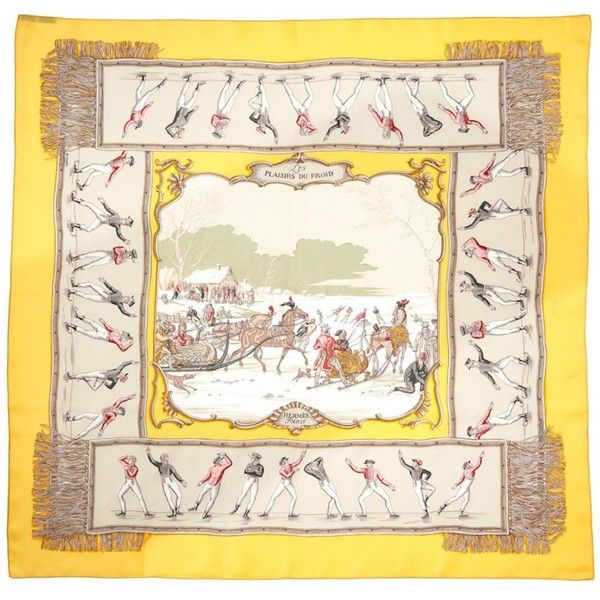 """Hermes Hermes Plaisirs Du Froid"""""""" By Hugo Grygkar Silk Scarf... ($395) ❤ liked on Polyvore featuring accessories, scarves, no color, colorful scarves, silk shawl, patterned scarves, pure silk scarves and colorful shawl"""