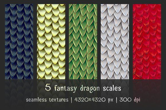 5 patterns of fantasy dragon scales by GivArt on @creativemarket